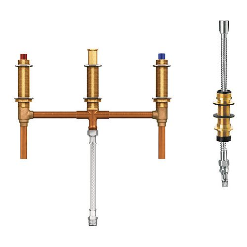 MOEN 2-Handle 4-Hole Roman Tub Fixed Rough-In Valve with Shower Diverter - 1/2 inch CC Connection