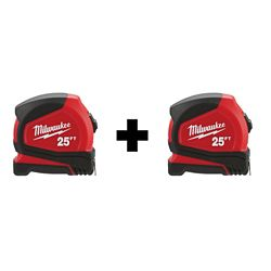 Milwaukee Tool Ruban à mesurer compact 25 pi (paquet de 2)