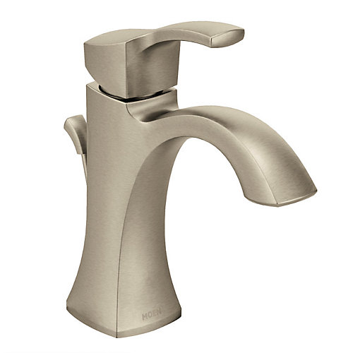 Voss Single Hole Single-Handle High Arc Bathroom Faucet with Lever Handle in Brushed Nickel