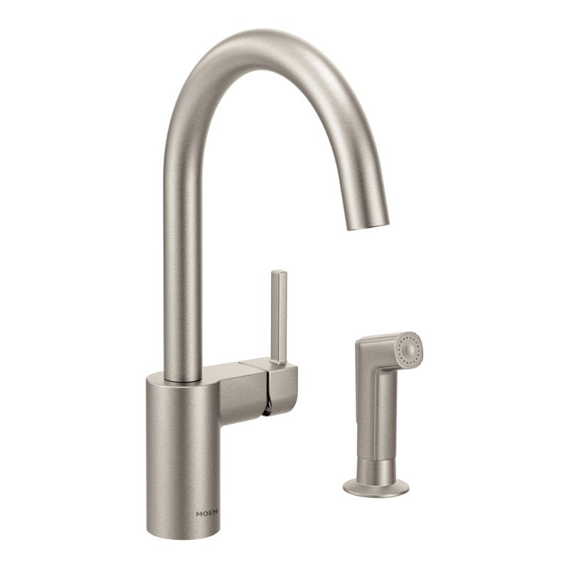 Moen Align Single-Handle High Arc Kitchen Faucet with Side Sprayer in Spot Resist Stainless