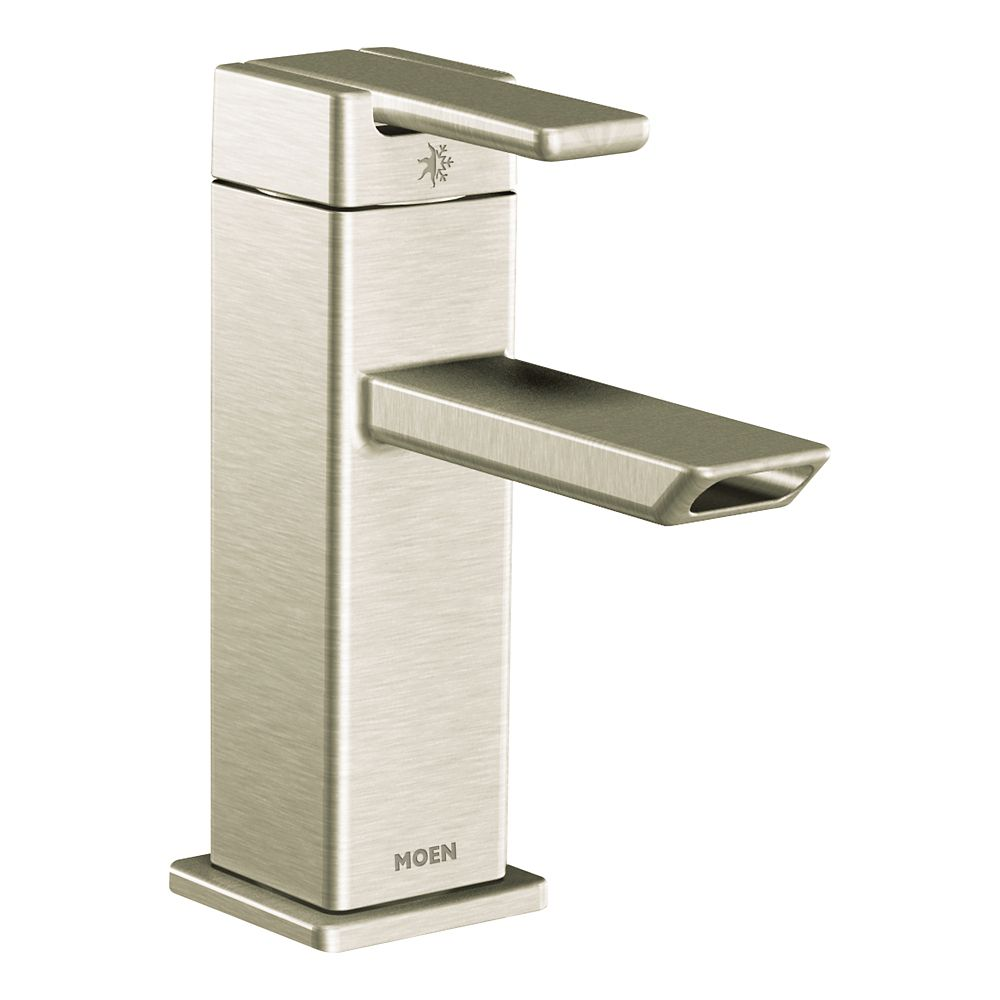 Moen 90-Degree Single-Handle Low-Arc Bathroom Faucet In Brushed Nickel