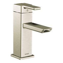 MOEN 90-Degree Single-Handle Low-Arc Bathroom Faucet In Brushed Nickel