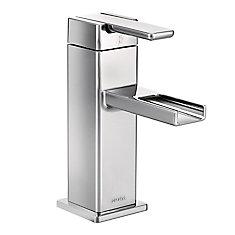Robinet de lavabo, arc moyen, 1poignée perpendiculaire, 1trou, chrome