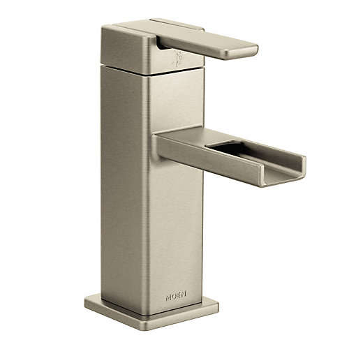 90-Degree Single Hole Single-Handle Mid-Arc Bathroom Faucet in Brushed Nickel