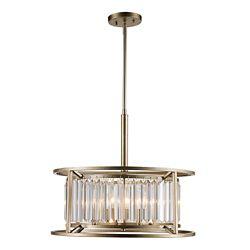 Bel Air Lighting Suspension cage prisme en verre à 4 lumières - Feuilles d'argent vieilli