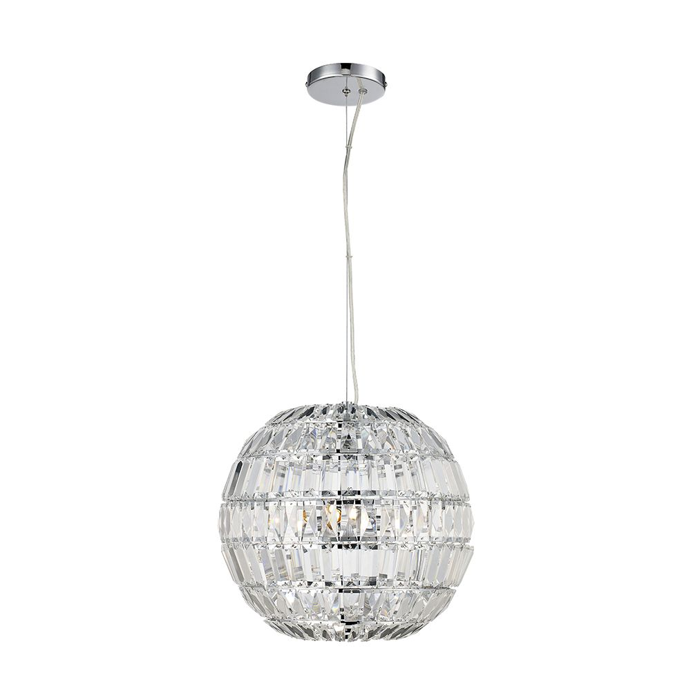 Bel Air Lighting Medium 3 Light Crystal Sphere Pendant