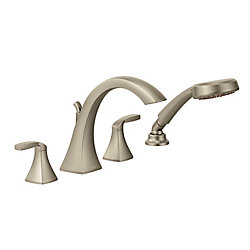 Voss Deck-Mount Tub  Shower Faucet in Brushed Nickel