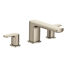 Rizon Two-Handle Low Arc Roman Tub Faucet Trim In Brushed Nickel (Valve Sold Separately)