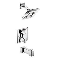Ensemble de garniture de baignoire et de douche de 90 degrés pour baignoire et douche en chrome (valve vendue séparément)