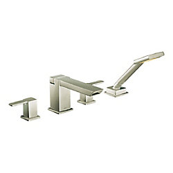 90 Degree 2-Handle High Arc Roman Tub Faucet Includes Hand Shower in Brushed Nickel (Valve Sold Separately)