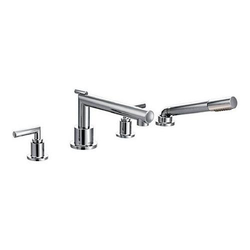 MOEN Kit de robinetterie pour baignoire romaine à 2 poignées avec douchette en chrome (valve non incluse)