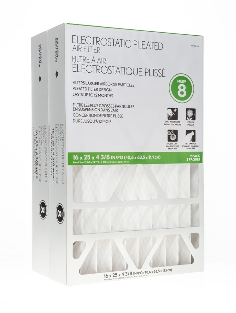 Air Flow Electrostatiic Pleated Air Filter 16X25X4 3/8 2 Pack