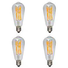 LED Filament Clear ST64 60W 2200K 600LM ES CRI90 Dimmable - Case of 4