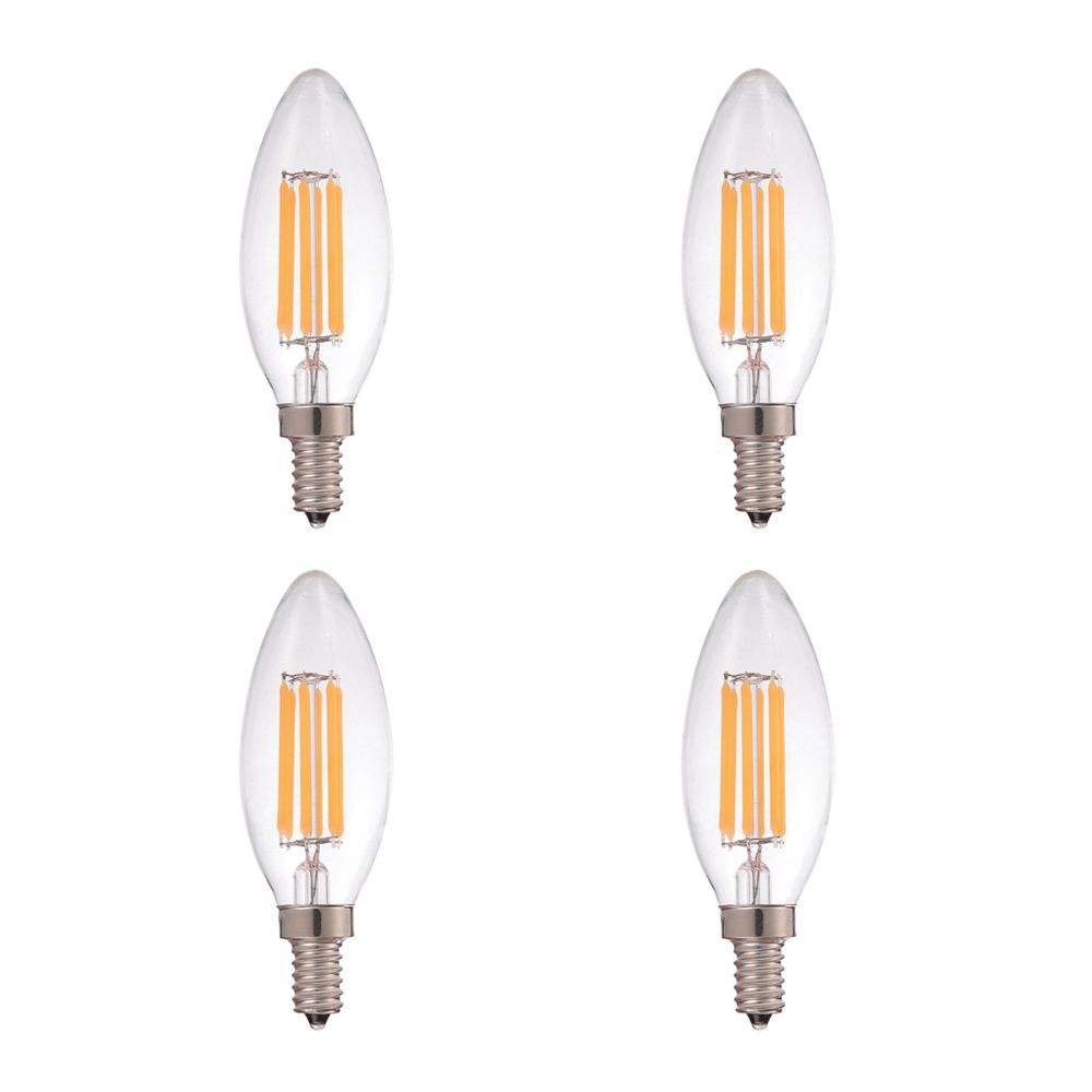 Strak LED LED Filament  Clear Candlelabra 3000K 60W E12 CRI90 ES  Dimmable- Pack of 4 - ENERGY STAR®