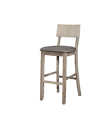 Solid Wood Grey Rustic Full Back Armless Bar Stool With Linen Seat
