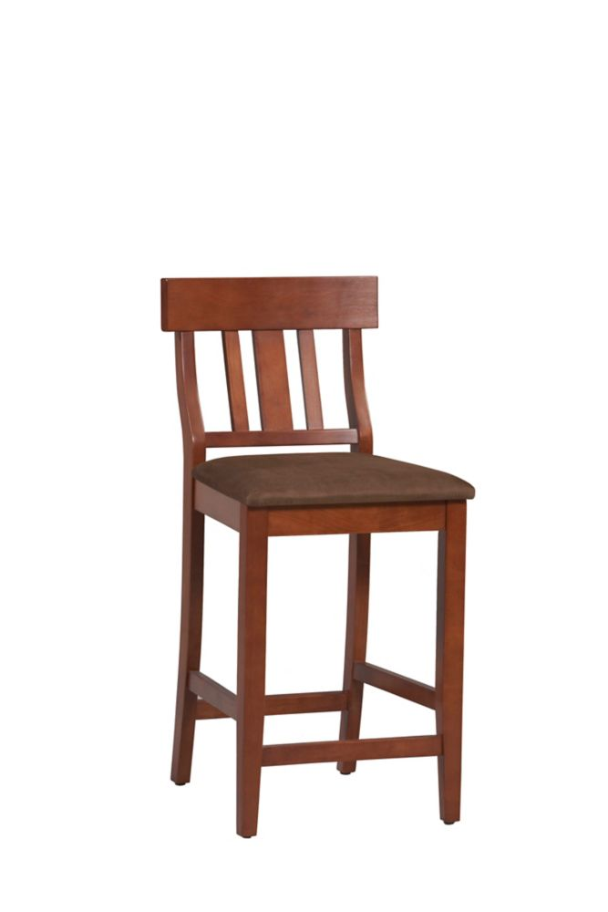 Solid Wood Cherry Traditional Full Back Armless Bar Stool with Brown Solid Wood Seat