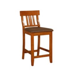 Linon Home Décor Products Solid Wood Cherry Traditional Full Back Armless Bar Stool with Brown Fabric Seat