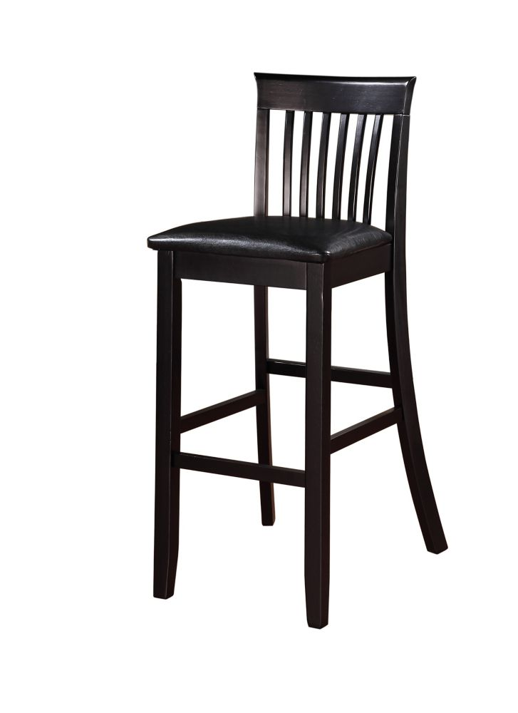 linon home d cor products craftsman solid wood black contemporary full back armless bar stool. Black Bedroom Furniture Sets. Home Design Ideas