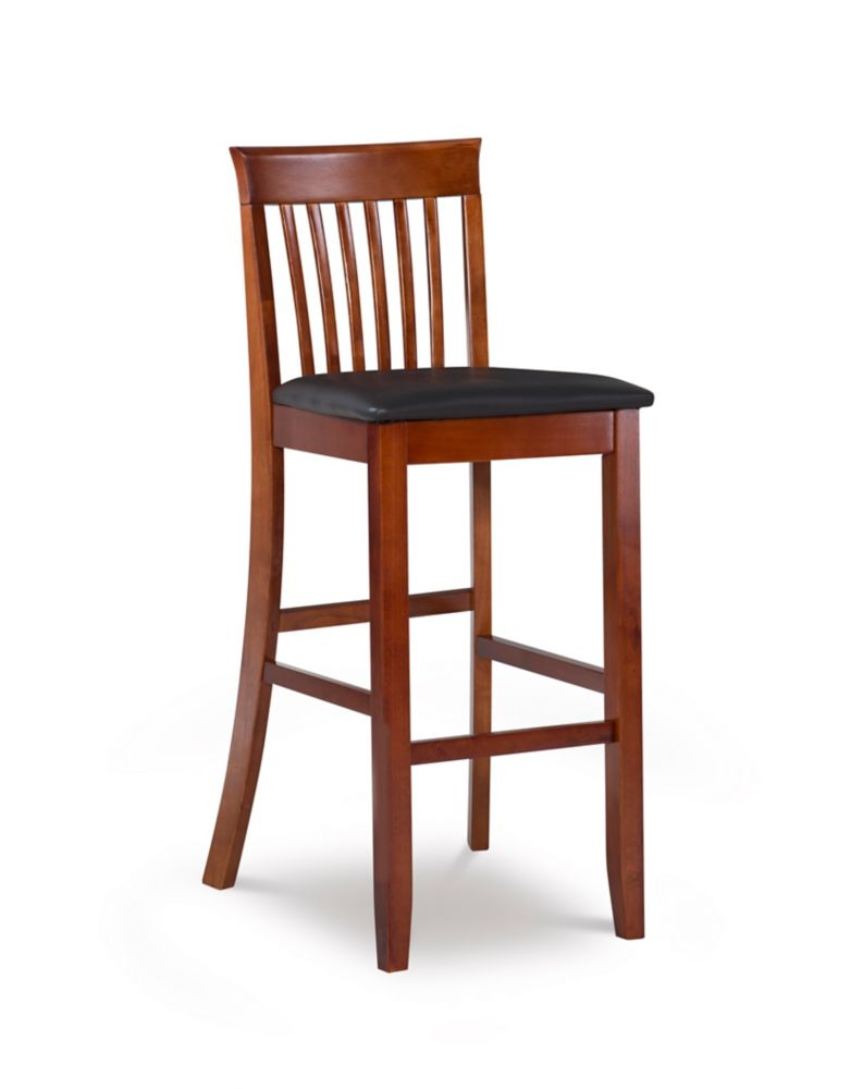 Manufactured Wood Cherry Contemporary Full Back Armless Bar Stool with Espresso Faux Leather Seat