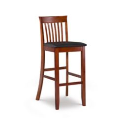 Linon Home Décor Products Craftsman Manufactured Wood Cherry Full Back Armless Bar Stool with Espresso Faux Leather Seat