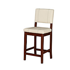 Solid Wood Walnut Contemporary Full Back Armless Bar Stool with Beige Faux Leather Seat