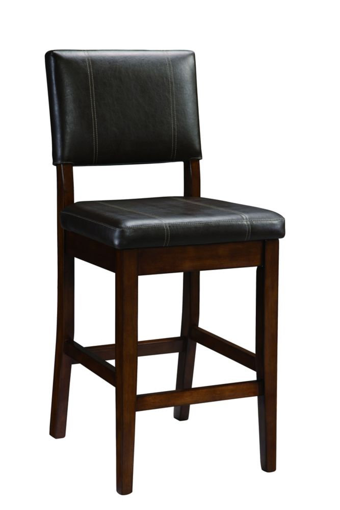 linon home d cor products solid wood walnut contemporary full back armless bar stool with. Black Bedroom Furniture Sets. Home Design Ideas