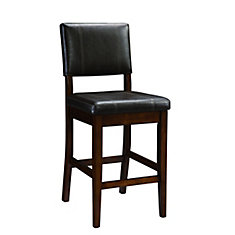 Solid Wood Walnut Contemporary Full Back Armless Bar Stool with Espresso Faux Leather Seat