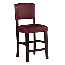 Linon Home Décor Products Solid Wood Espresso Traditional Full Back Armless Bar Stool with Red Faux Leather Seat