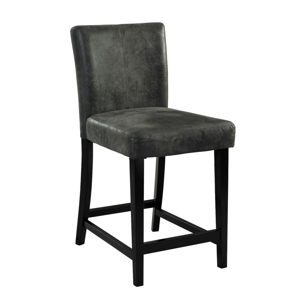 Linon Home Décor Products Manufactured Wood Black Contemporary Full Back Armless Bar Stool with Grey Microfibre Seat