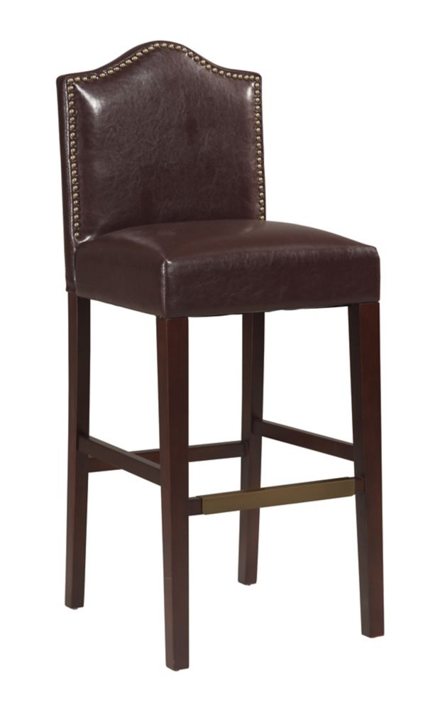 Manufactured Wood Espresso Traditional Full Back Armless Bar Stool with Espresso Faux Leather Seat