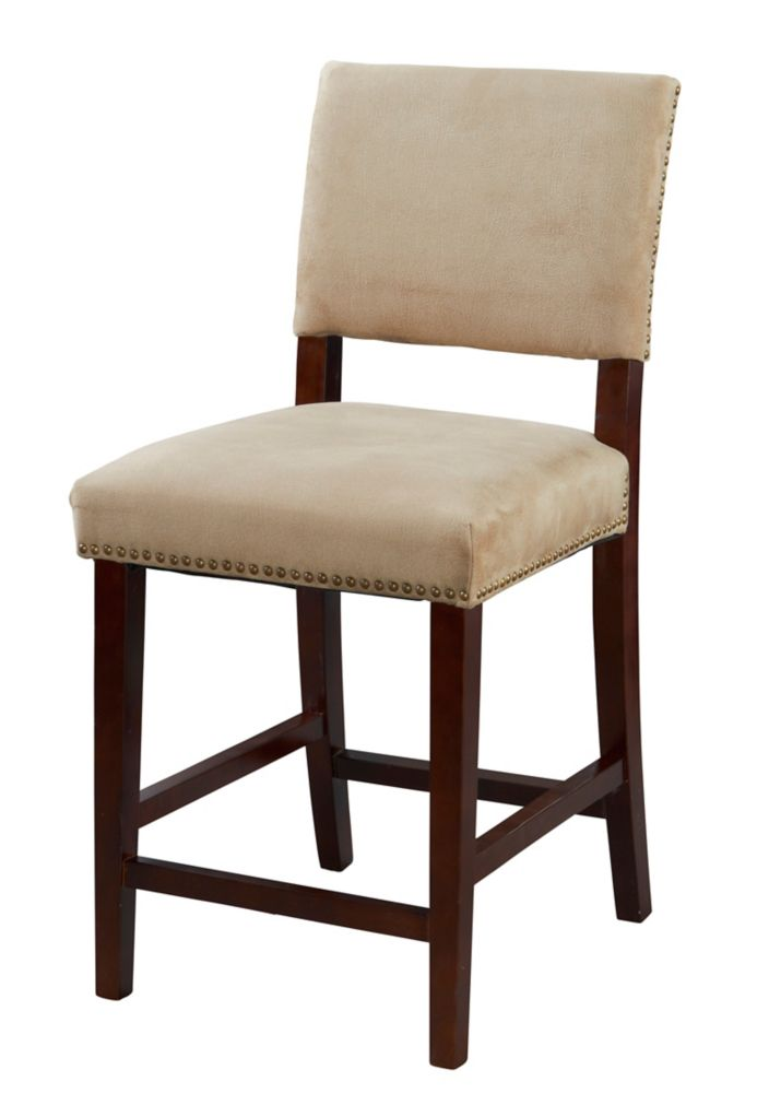 Linon Home Décor Products Corey Manufactured Wood Brown Contemporary Full Back Armless Bar Stool with Beige Microfibre Seat