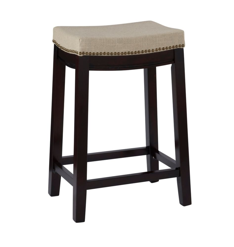 Linon Home Decor Products Beige Linen Backless Counter Stool With Nailheads