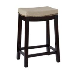 Linon Home Décor Products Beige Linen Backless Counter Stool with Nailheads