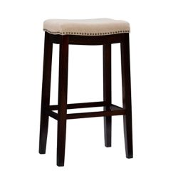 Linon Home Décor Products Natural Linen Backless Bar Stool with Nailheads