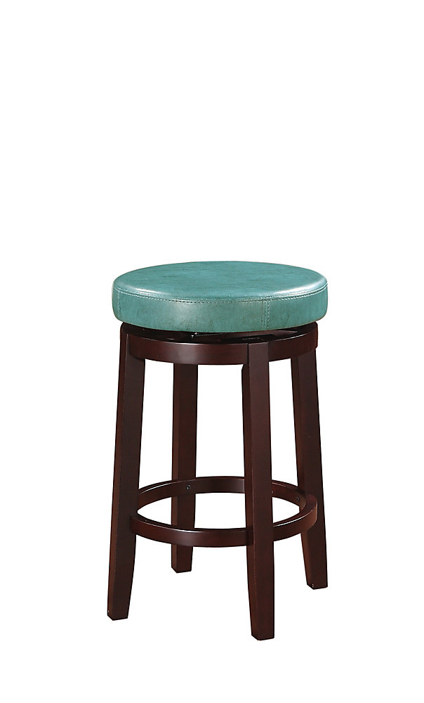 Round Swivel Backless Counter Stool - Teal