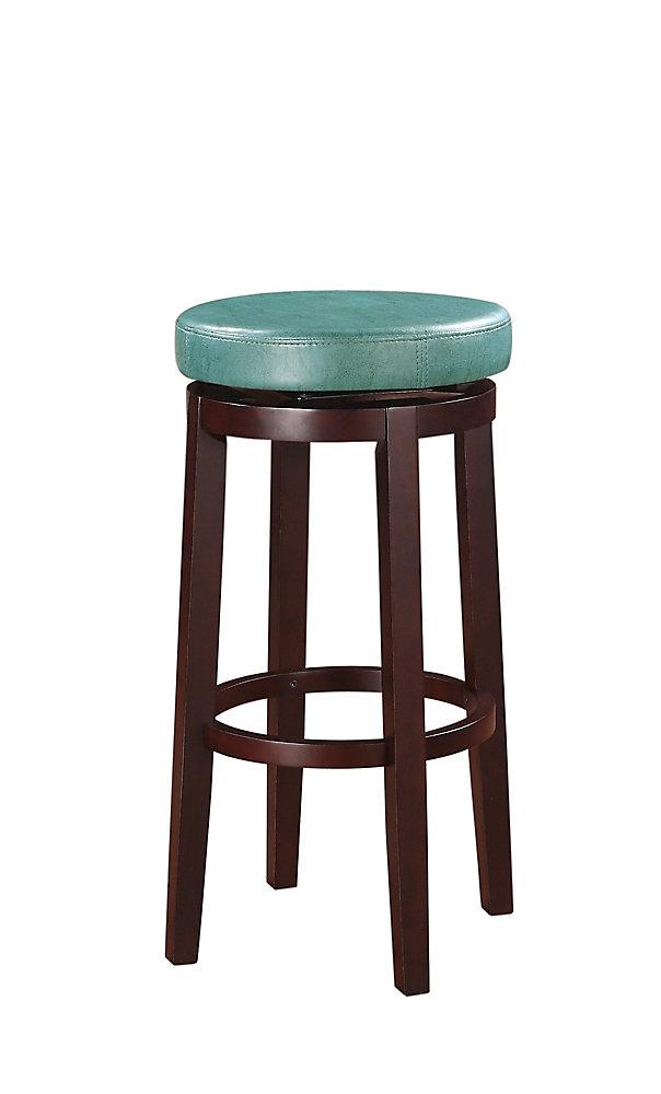 Round Swivel Backless Bar Stool - Teal