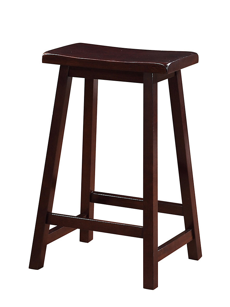 Classic Saddle Stool - Counter Height - Dark Brown Stain