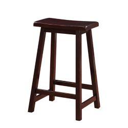 Linon Home Décor Products Tabouret à siège en selle classique à hauteur de comptoir, teinture brun foncé