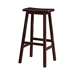Linon Home Décor Products Classic Saddle Stool - Bar Height - Dark Brown Stain