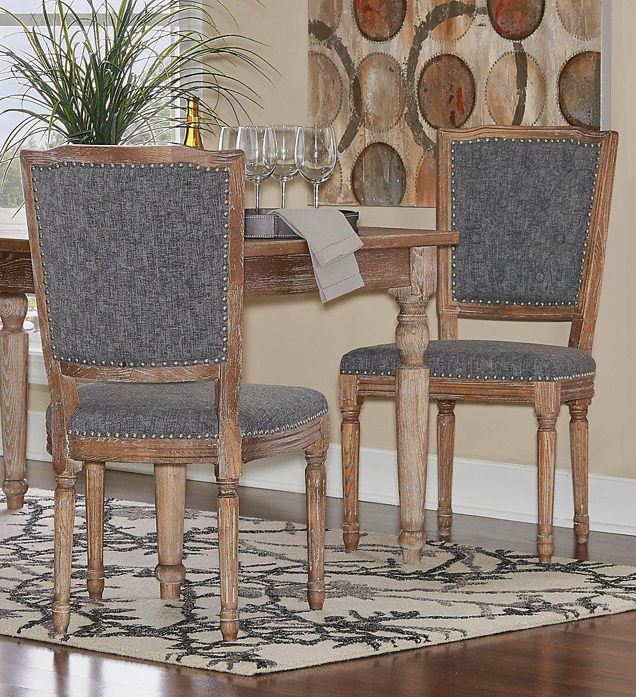 French Inspired Charcoal Square Tufted Back, Chair Set - (2-Pack)