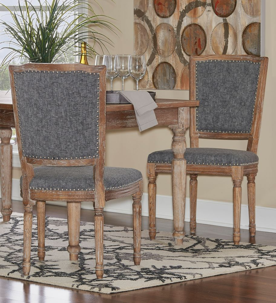 Linon Home Décor Products French Inspired Charcoal Square Tufted Back, Chair Set - (2-Pack)