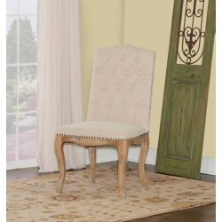 Linon Home Décor Products French Inspired Natural Square Tufted Back, Chair Set - (2-Pack)