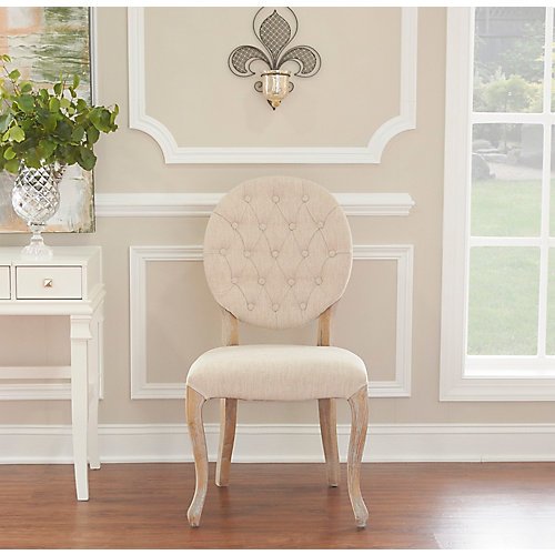 French Inspired Natural Oval Tufted Back, Chair Set - (2-Pack)