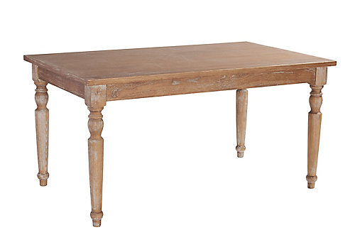 59 Inch French Inspired Table In Dark Natural Brown Finish