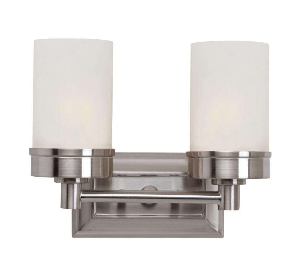 2- Light 60W Brushed Nickel Contemporary Style Vanity Light