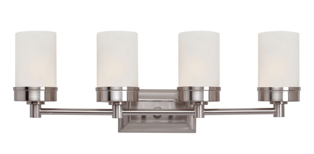 4-Light 60W Brushed Nickel Contemporary Style Vanity Light