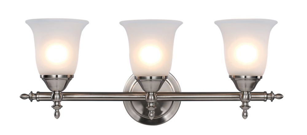 3- Light Brushed Nickel Vanity Light
