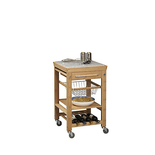 Bamboo Granite Top Kitchen Cart