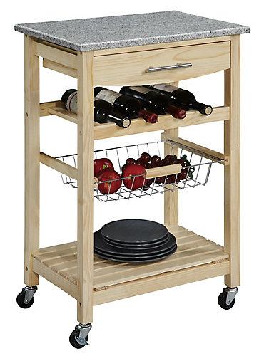 Chariot De Cuisine En Bambou 23 Po Dessus Granit 1 Tiroir Panier Amov Et Rangement Pour Vin