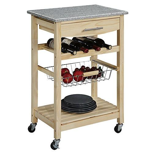 Chariot de cuisine en bambou 23 po, dessus en granit, 1 tiroir, panier amov. et rangement pour vin